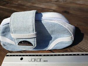 Christian Dior Make Up Bag Blue denim and white plastic.