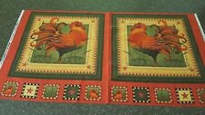 Country Charm Panel 23x42 Angela Anderson VIP Rust Colored Roosters on Rust