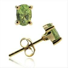 Gold Tone over Sterling Silver Peridot 6x4mm Oval Stud Earrings
