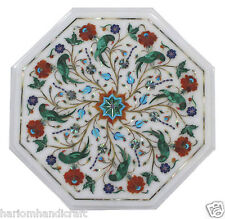 """24""""x24"""" Marble Coffee Table Top Malachite Parrot Mosaic Inlaid Furniture H1824"""
