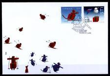 Weihnachten. Skifahrer, Schneemann. FDC. Estland 2008