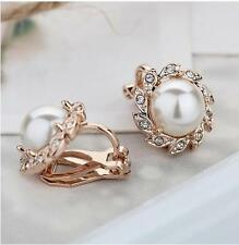 Woman Gold Comfy Clip On Cream Ivory Pearl & Rhinestone Crystal Round Earrings