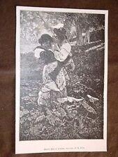 Bacio tra i boschi Incisione di A. Foli