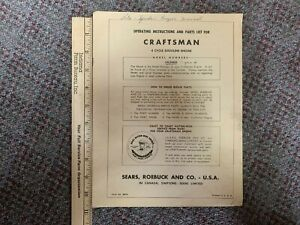 Craftsman 4 Cycle Gasoline Engine Operating Instructions & Parts List 143.54502
