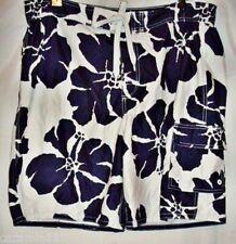 Breakwater Swim Trunks Board Shorts Floral Navy Blue White size Large