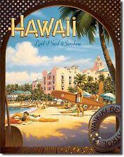 HAWAII PALM BEACH SURF SURFER SURFBOARD LONGBOARD SURFBOARDS FINS  METAL SIGN
