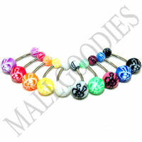 W023 Acrylic Belly Naval Rings Skull Bones Color Design pattern Shape LOT of 10
