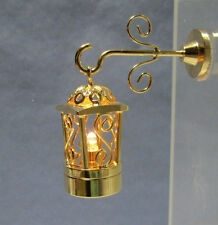 Dollhouse Miniature Battery Operated Brass Hanging Coach Lamp Light