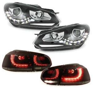LED TAGFAHRLICHT SCHEINWERFER + R-LOOK LED RÜCKLEUCHTEN VW GOLF 6 VI 08-12 DEPO