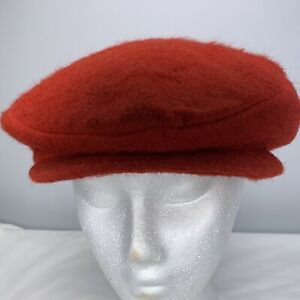 Vtg Red Newsboy Cap Wool Blend w Leather Surround Lined Mens