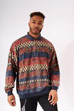 Vintage Paisley Patterned Polo Neck Sweater Navy Blue (L)