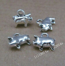 15pc Tibetan Silver 2-Sided Pig Animal Pendant Charms beads Accessories PL696