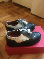 Grenson Emily womens Black/ White Platform Oxford UK3.5/US6/EU36 (MSRP $400)
