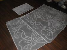 ROMANY WASHABLE TRAVELLERS 4 MATS NON SLIP BOWS DESIGN SUPER THICK SILVER/GREY