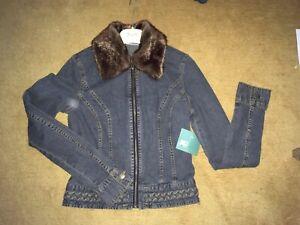 JLo Faded Black Denim Jacket Faux Fur Collar -Small -Jennifer Lopez