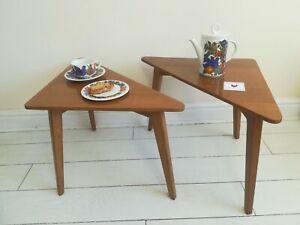 G-plan E Gomme pair of triangular coffee tables Brandon range Rare light oak