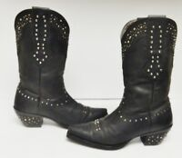 Ariat ATS Leather Boots Western Cowboy Studs Studded Pull On Black Women's 7.5 B