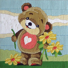 Teddy's Bouquet Country Threads Long Stitch Kit 30 X 30cm Includes Canvas & Wool