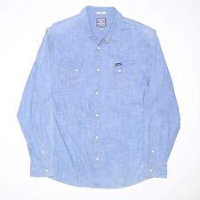 WRANGLER Spirit of America Blue Cotton Plain Long Sleeve Shirt Mens XL