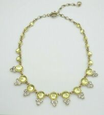 J.Crew White Yellow Crystal Bib Necklace Gold Tone