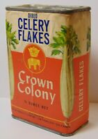 Rare Antique Old Vintage 1950s CROWN ELEPHANT CELERY FLAKES GRAPHIC SPICE TIN