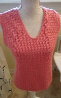 TRIBECA STUDIO LADIES SIZE SMALL CORAL V NECK KNIT TOP/SWEATER-NO SLEEVES-LKN