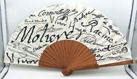Collectable vintage French, Vera Pilo Collection Mahogany and fabric hand fan