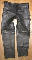 """ Römer "" Men's Lace-Up Leather Jeans/Leather Trousers IN Black Approx. W36 """