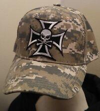 Iron Cross Baseball Cap Camouflage Hat Chopper Skull CROSS Camo Hat