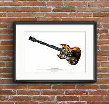 Tony Iommi's Jaydee 'Old Boy' guitar ART POSTER A2 size