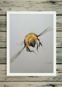 New Elle Smith large original signed watercolour art painting of a little Bee