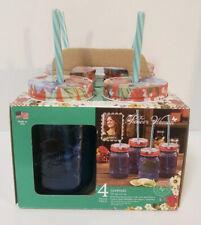 NEW Pioneer Woman Sapphire Mason Jar 16oz Glasses Lids and Straws Drinking Set 4