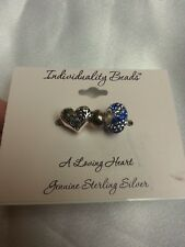 #2 New on Card Individuality 3 Beads A Loving Heart Sparkle Gen. Sterling Silver