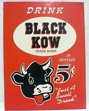 Vintage Reproduction Black Cow Soda Pop Tin Sign