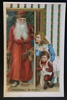 Long Robe~ SANTA CLAUS~with Victorian ~Children~Antique~Christmas Postcard--a399