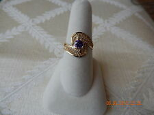 Ladies 10K yellow gold synthetic filagree purple amethyst solitare ring size 7.5