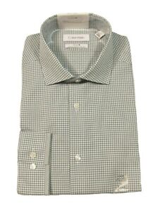 Calvin Klein Green STEEL+ Slim Non-Iron Performance Check Dress Shirt