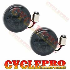 2 Smoke Turn Signal Red LED Lenses for 2000-16 Harley Bullet Dome Style Blinker