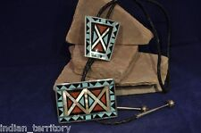 Zuni Indian Buckle and Bolo Set with Inlaid Turquoise/Coral/Jet/Mother of Pearl