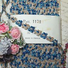 "18""  VTG FRENCH ROCOCO TRIM Blue Beige BOW ROSETTE DOLL DRESS FLOWER RIBBON"