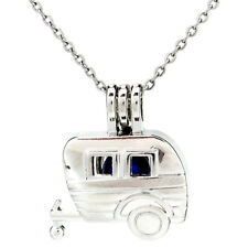 K916 Silver Carriage Beads Cage Oil Diffuser Pearl Locket Necklace Pendant