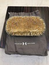 Halston Heritage Gold Crystal Evening Bag Small Minaudiere Clutch Detach Chain