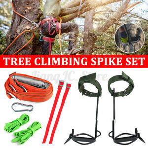 Upgrade 2 Gear Height Adjustable Tree/Pole Climbing Spike Set + Safety Belt