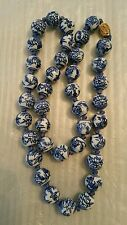 Vintage Chinese Porcelain Hand Painted & Knotted Bead Necklace Duck Plant Design