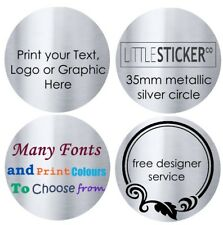 Silver Return Address Labels Personalised round Stickers customised x 100