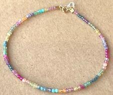 colorful gemstone bracelet strand layer stack birthstones real gems 18k gold