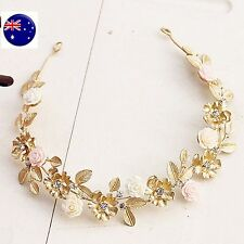 Women Girl Beach wedding Flower Girl gold leaf Hair Headband Prop Garland hoop