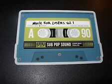 """SUB POP SEATTLE 4"""" MUSIC FOR LOSERS Cassette Sticker Decal pearl jam nirvana"""