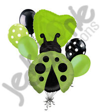 7 pc Little Lady Bug Balloon Bouquet Party Decoration Birthday Baby Shower Green