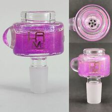 Krave 14mm Freezable Glass Slide Bowl - Honeycomb screen Purple Glitter pipe